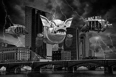 Photograph - When Pigs Fly In Black And White by Randall Nyhof