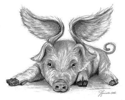 Quirky Drawing - When Pigs Fly by J Ferwerda