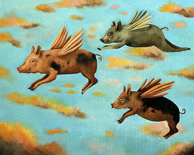 Faerie Painting - When Pigs Fly by Leah Saulnier The Painting Maniac
