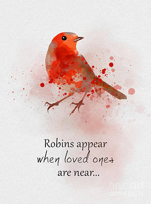 Watercolour Mixed Media - When Robins Appear by Rebecca Jenkins