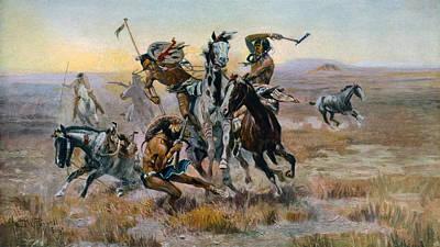 When Sioux And Blackfeet Met, Battle Art Print by Everett
