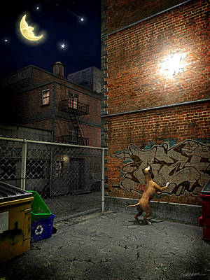 Graffitti Digital Art - When Stars Fall In The City by Cynthia Decker