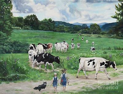 Painting - When The Cows Come Home, It's Milking Time by Heidi Parmelee-Pratt