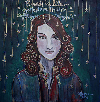 Painting - When The Stars Fall For Brandi Carlile by Laurie Maves ART