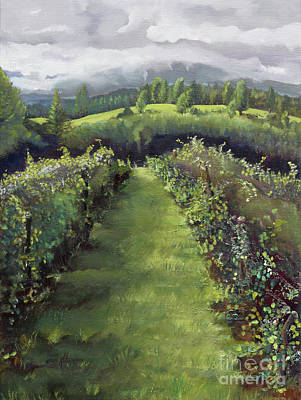 Painting - When The Vines Rest At Otts Farms And Vineyard by Jan Dappen