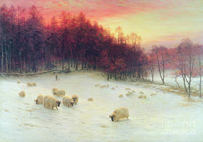 Snow Scene Painting - When The West With Evening Glows by Joseph Farquharson