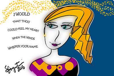 Thinking Of You Drawing - When The Winds Whisper  by Sharon Augustin