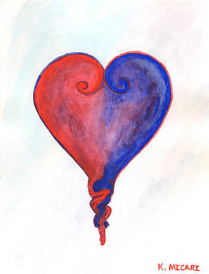 Wall Art - Painting - When Two Hearts Become One by Kat Micari