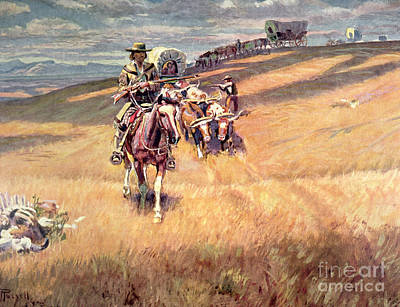 When Wagon Trails Were Dim Art Print by Charles Marion Russell