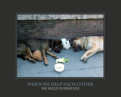 When We Help Each Other Art Print by Donna Corless