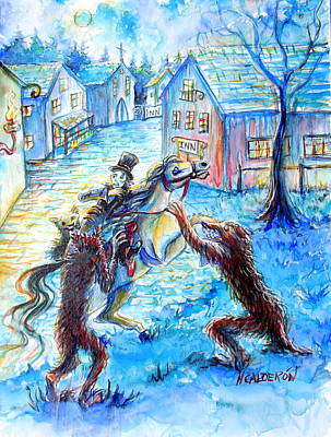 Print featuring the painting When Werewolves Attack by Heather Calderon