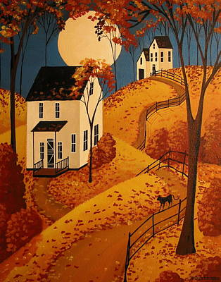 Cat Art Painting - When Will All The Leaves Fall - Folk Art by Debbie Criswell