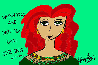 Thinking Of You Drawing - When You Are With Me I Am Smiling by Sharon Augustin
