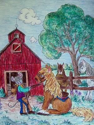 Cartoon Horse Drawing - When Your Pony Won't Start by Megan Walsh
