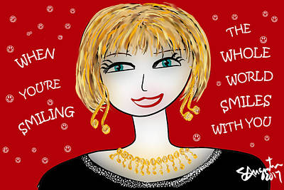 Thinking Of You Drawing - When You're Smiling The Whole World Smiles With You by Sharon Augustin
