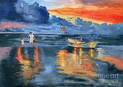 Boats Painting - Where Are Last Night's Lights? by Melly Terpening