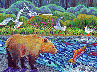 Salmon Painting - Where Bears Roam And Salmon Run by Harriet Peck Taylor