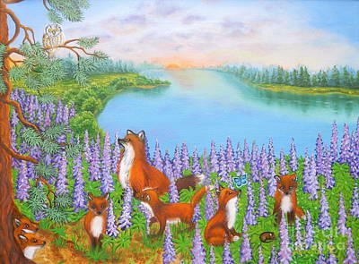 Fox Kit Painting - Where Bloom Lupines by Loreta Mickiene