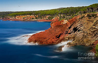 Where Blue Water Meets Red Rock Art Print by Russ Brown