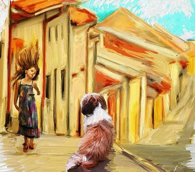 Dog Walking Digital Art - Where Do Thoughts Come From by Richard Okun
