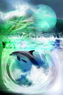 Cetacean Digital Art - Where Do You Go by Wendy Slee
