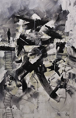 Painting - Where I Am Original Black And White Abstract Acrylic Painting On Canvas by Gray  Artus