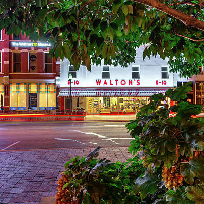 Cafes At Night Photograph - Where It All Began - Sam Walton's First Store - Bentonville Arkansas by Gregory Ballos