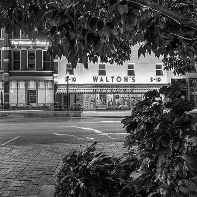 Walmart Photograph - Where It All Began - Sam Walton's First Store - Black And White - Bentonville Arkansas by Gregory Ballos