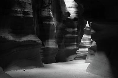 Photograph - Where It Leads - Antelope Canyon In Black And White by Gregory Ballos