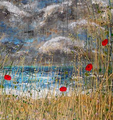 Thunder Painting - Where Poppies Blow Detail by Angie Wright