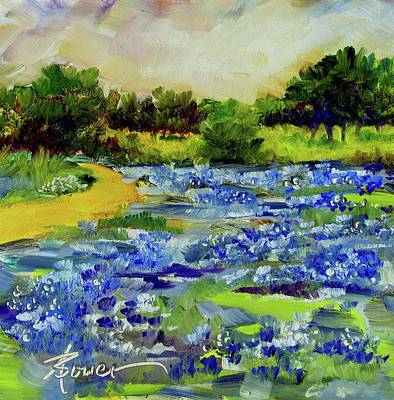 Painting - Where The Beautiful Bluebonnets Grow by Adele Bower