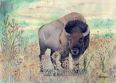 Buffalo Painting - Where The Buffalo Roams by Arline Wagner