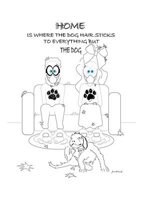 Drawing - Where The Dog Hair Sticks by James Mulvania