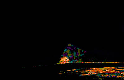 Abstract Beach Landscape Digital Art - Where The Sea Meets The Moon by Kume Bryant