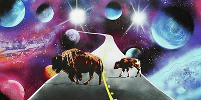 Contemporary Western Art Mixed Media - Where The Space Buffalo Roam II by Surj LA