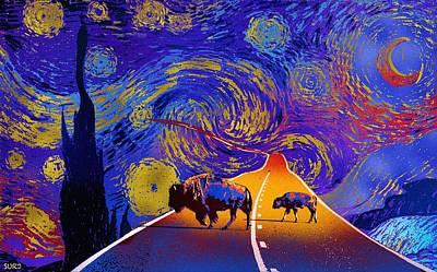 Mixed Media - Where The Space Buffalo Roam by Surj LA