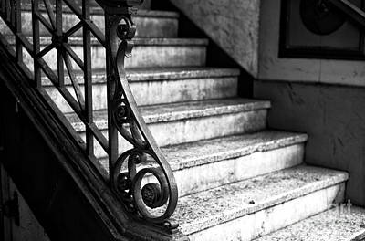Photograph - Where The Stairs Lead In Gastown Mono by John Rizzuto