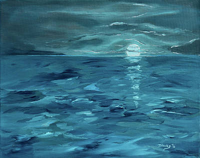 Moon Rise Painting - Where The Twilight Meets The Dawn by Donna Blackhall
