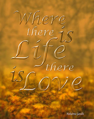 Mahatma Gandhi Photograph - Where There Is Life There Is Love by Mal Bray