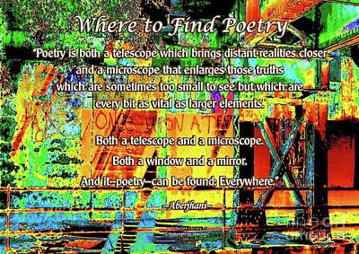Digital Art - Where To Find Poetry by Aberjhani's Official Postered Chromatic Poetics