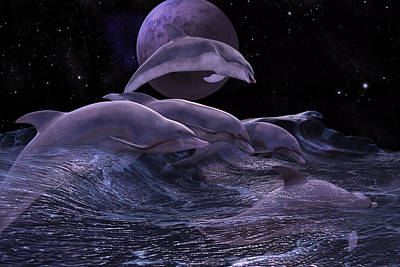 Dolphin Digital Art - Wherever You May Roam by Betsy Knapp