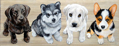 Husky Puppy Painting - Which One Is Guilty by Glenda Stevens