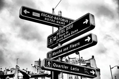 Which Way Photograph - Which Way In Paris by John Rizzuto