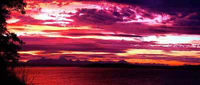 Whidbey Red Sky Morning Art Print by Mary Gaines