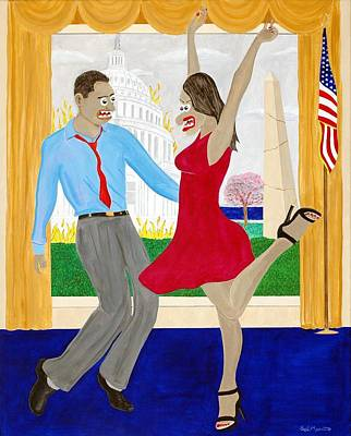 Michelle Obama Painting - While America Withers by Sal Marino