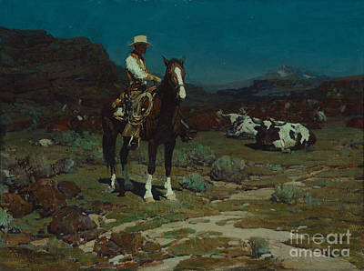 Sleeping Painting - While Trail-weary Cattle Are Sleeping  by Celestial Images