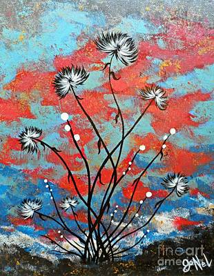 Whimsical Abstract Flower Artwork Running Wild Original by JoNeL Art