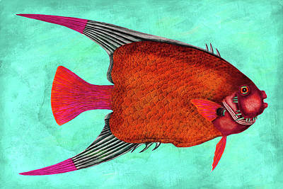 Whimsical Angel Fish Wall Art Art Print
