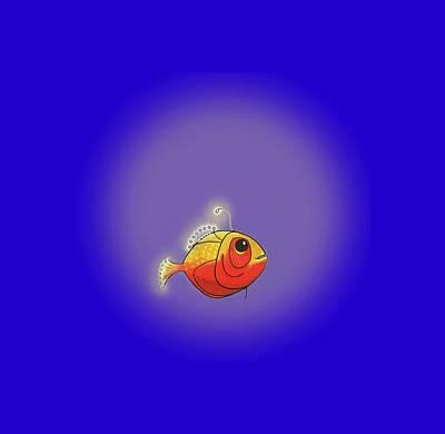 Digital Art - Whimsical Angler Fish by Jean Moore
