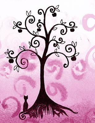 Brunch Painting - Whimsical Apple Tree by Irina Sztukowski